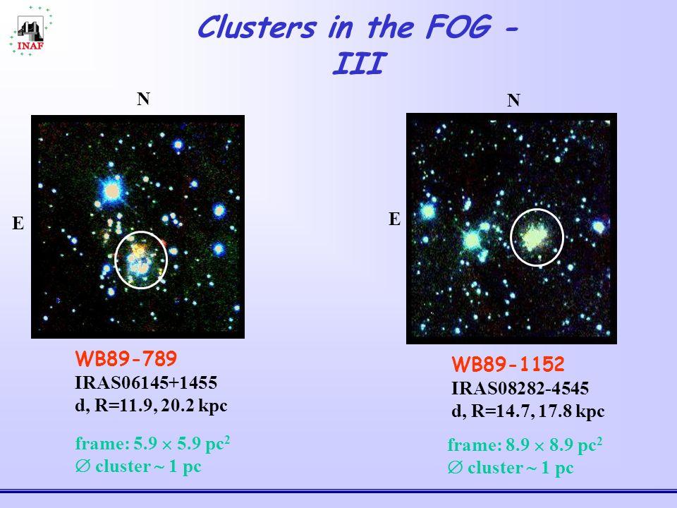 Clusters in the FOG - III WB89-789 IRAS06145+1455 d, R=11.9, 20.2 kpc E N WB89-1152 IRAS08282-4545 d, R=14.7, 17.8 kpc E N frame: 5.9 5.9 pc 2 cluster 1 pc frame: 8.9 8.9 pc 2 cluster 1 pc
