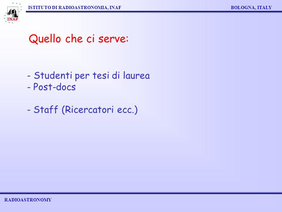 RADIOASTRONOMY ISTITUTO DI RADIOASTRONOMIA, INAF BOLOGNA, ITALY Quello che ci serve: - Studenti per tesi di laurea - Post-docs - Staff (Ricercatori ecc.)
