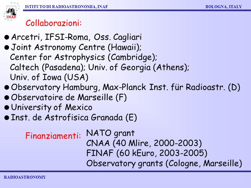 RADIOASTRONOMY ISTITUTO DI RADIOASTRONOMIA, INAF BOLOGNA, ITALY Finanziamenti: NATO grant CNAA (40 Mlire, 2000-2003) FINAF (60 kEuro, 2003-2005) Observatory grants (Cologne, Marseille) Collaborazioni: Arcetri, IFSI-Roma, Oss.