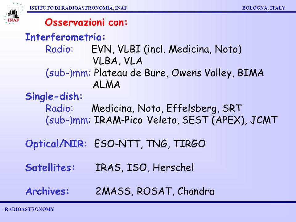 RADIOASTRONOMY ISTITUTO DI RADIOASTRONOMIA, INAF BOLOGNA, ITALY Osservazioni con: Interferometria: Radio: EVN, VLBI (incl.