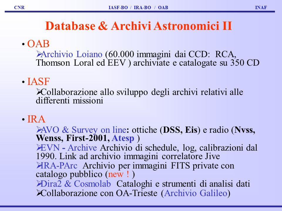 CNR IASF-BO / IRA-BO / OAB INAF Database & Archivi Astronomici II OAB Archivio Loiano (60.000 immagini dai CCD: RCA, Thomson Loral ed EEV ) archiviate