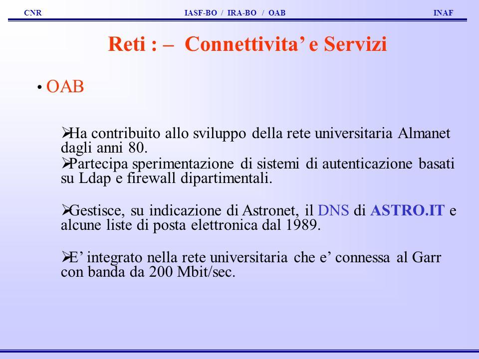 CNR IASF-BO / IRA-BO / OAB INAF Reti : – Connettivita e Servizi OAB Ha contribuito allo sviluppo della rete universitaria Almanet dagli anni 80.