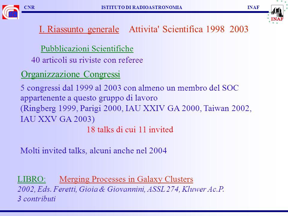 CNR ISTITUTO DI RADIOASTRONOMIA INAF I. Riassunto generale Attivita' Scientifica 1998 2003 Pubblicazioni Scientifiche 40 articoli su riviste con refer