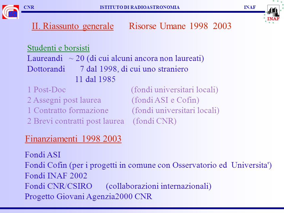 CNR ISTITUTO DI RADIOASTRONOMIA INAF II.