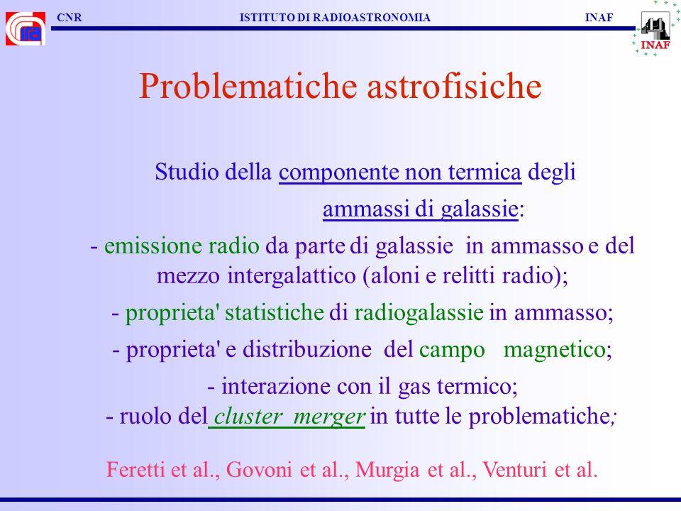 CNR ISTITUTO DI RADIOASTRONOMIA INAF Problematiche astrofisiche Studio della componente non termica degli ammassi di galassie: - emissione radio da parte di galassie in ammasso e del mezzo intergalattico (aloni e relitti radio); - proprieta statistiche di radiogalassie in ammasso; - proprieta e distribuzione del campo magnetico; - interazione con il gas termico; - ruolo del cluster merger in tutte le problematiche; Feretti et al., Govoni et al., Murgia et al., Venturi et al.