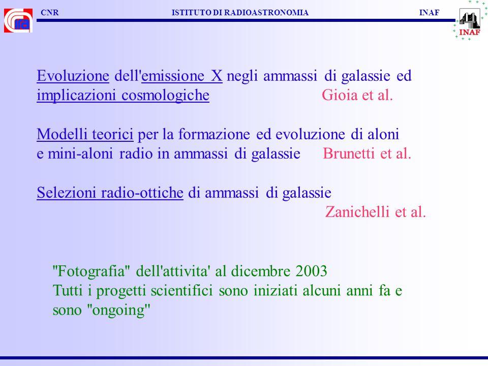 CNR ISTITUTO DI RADIOASTRONOMIA INAF Evoluzione dell emissione X negli ammassi di galassie ed implicazioni cosmologiche Gioia et al.