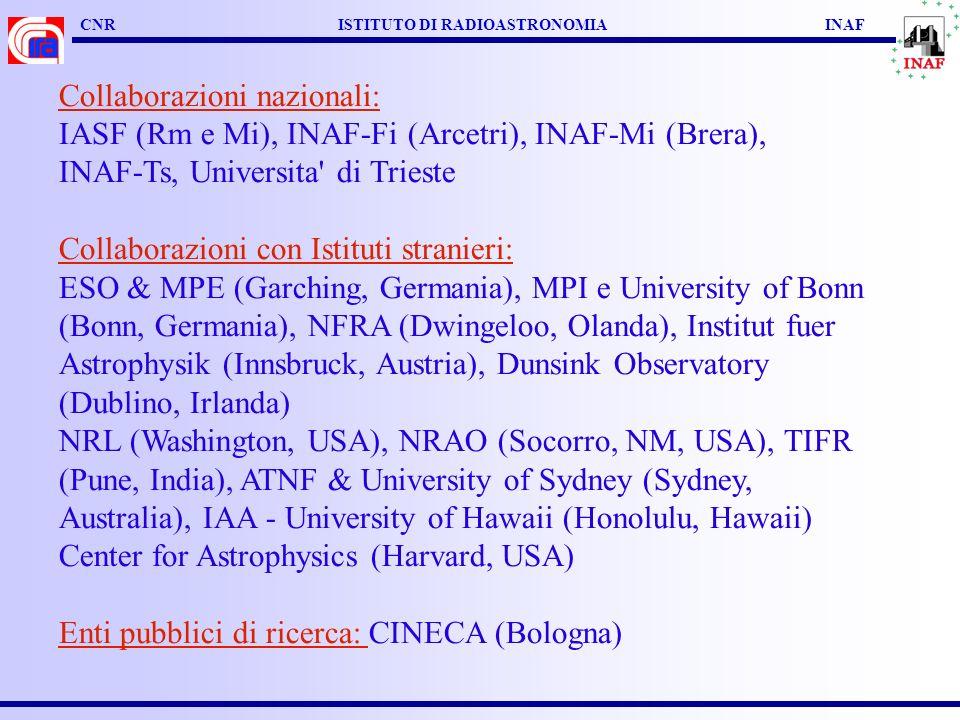CNR ISTITUTO DI RADIOASTRONOMIA INAF Collaborazioni nazionali: IASF (Rm e Mi), INAF-Fi (Arcetri), INAF-Mi (Brera), INAF-Ts, Universita di Trieste Collaborazioni con Istituti stranieri: ESO & MPE (Garching, Germania), MPI e University of Bonn (Bonn, Germania), NFRA (Dwingeloo, Olanda), Institut fuer Astrophysik (Innsbruck, Austria), Dunsink Observatory (Dublino, Irlanda) NRL (Washington, USA), NRAO (Socorro, NM, USA), TIFR (Pune, India), ATNF & University of Sydney (Sydney, Australia), IAA - University of Hawaii (Honolulu, Hawaii) Center for Astrophysics (Harvard, USA) Enti pubblici di ricerca: CINECA (Bologna)