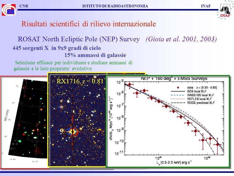 CNR ISTITUTO DI RADIOASTRONOMIA INAF Risultati scientifici di rilievo internazionale ROSAT North Ecliptic Pole (NEP) Survey (Gioia et al. 2001, 2003)