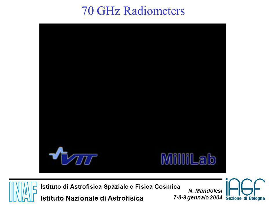 Istituto di Astrofisica Spaziale e Fisica Cosmica Istituto Nazionale di Astrofisica N. Mandolesi 7-8-9 gennaio 2004 70 GHz Radiometers