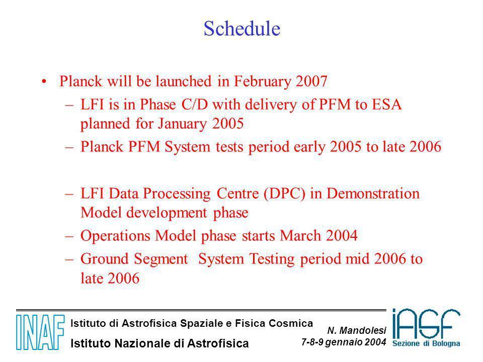 Istituto di Astrofisica Spaziale e Fisica Cosmica Istituto Nazionale di Astrofisica N. Mandolesi 7-8-9 gennaio 2004 Schedule Planck will be launched i