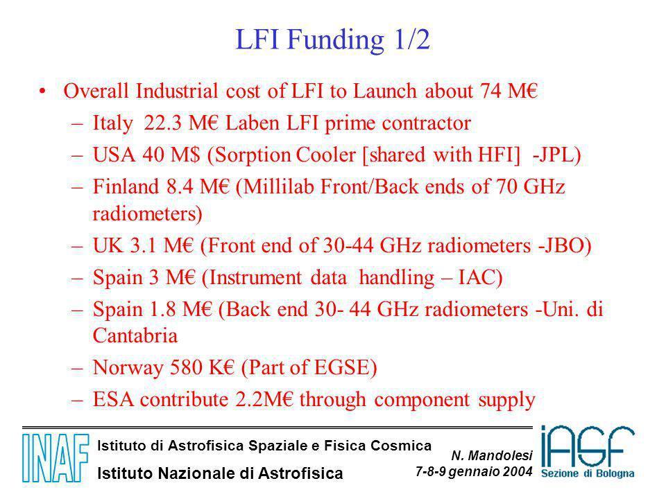 Istituto di Astrofisica Spaziale e Fisica Cosmica Istituto Nazionale di Astrofisica N. Mandolesi 7-8-9 gennaio 2004 LFI Funding 1/2 Overall Industrial
