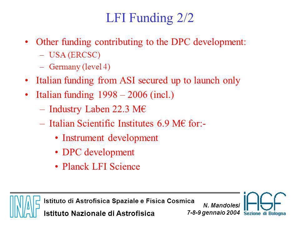 Istituto di Astrofisica Spaziale e Fisica Cosmica Istituto Nazionale di Astrofisica N. Mandolesi 7-8-9 gennaio 2004 LFI Funding 2/2 Other funding cont