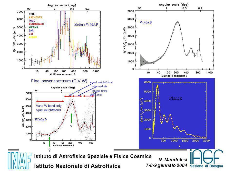 Istituto di Astrofisica Spaziale e Fisica Cosmica Istituto Nazionale di Astrofisica N. Mandolesi 7-8-9 gennaio 2004 Before WMAP WMAP Planck