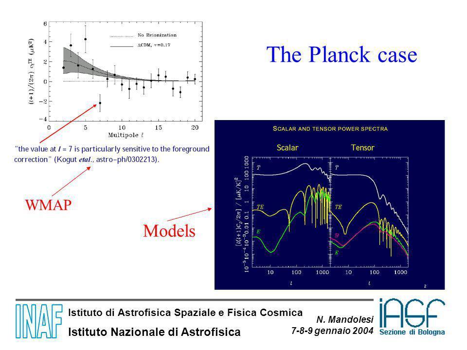 Istituto di Astrofisica Spaziale e Fisica Cosmica Istituto Nazionale di Astrofisica N. Mandolesi 7-8-9 gennaio 2004 The Planck case WMAP Models