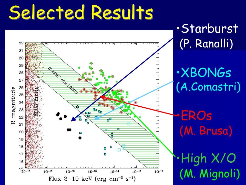Selected Results Starburst (P. Ranalli) XBONGs (A.Comastri) EROs (M. Brusa) High X/O (M. Mignoli)