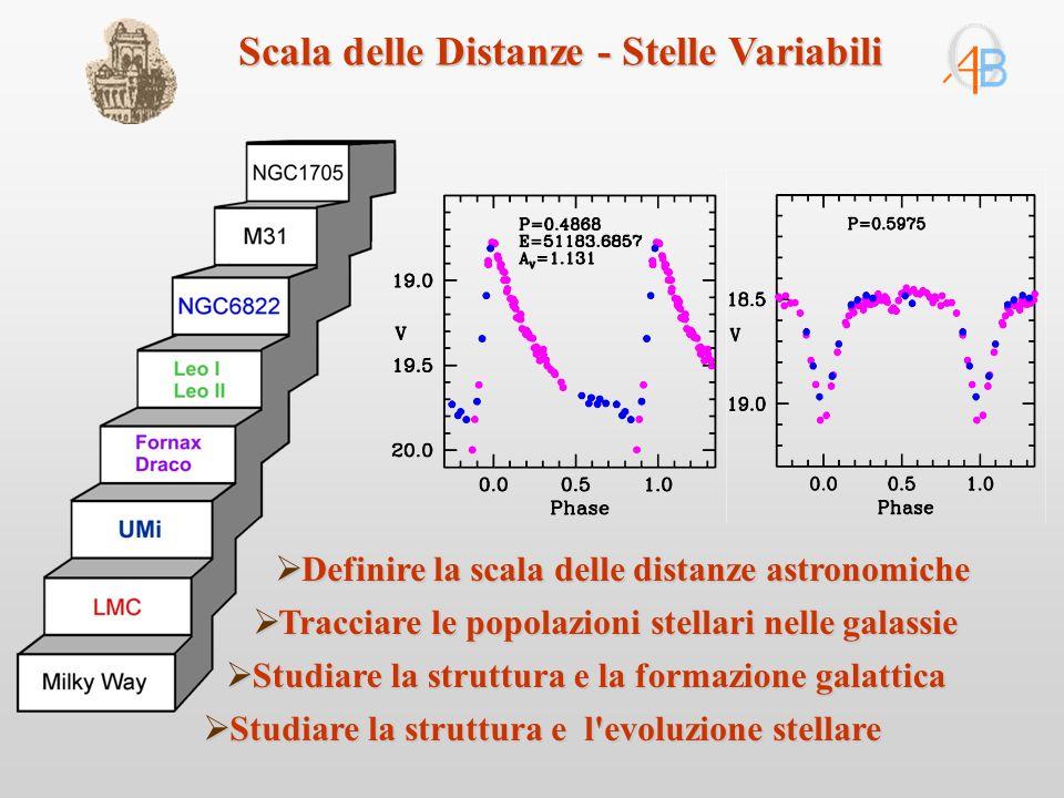 Studiare la struttura e l evoluzione stellare Studiare la struttura e l evoluzione stellare Definire la scala delle distanze astronomiche Definire la scala delle distanze astronomiche Tracciare le popolazioni stellari nelle galassie Tracciare le popolazioni stellari nelle galassie Studiare la struttura e la formazione galattica Studiare la struttura e la formazione galattica Scala delle Distanze - Stelle Variabili
