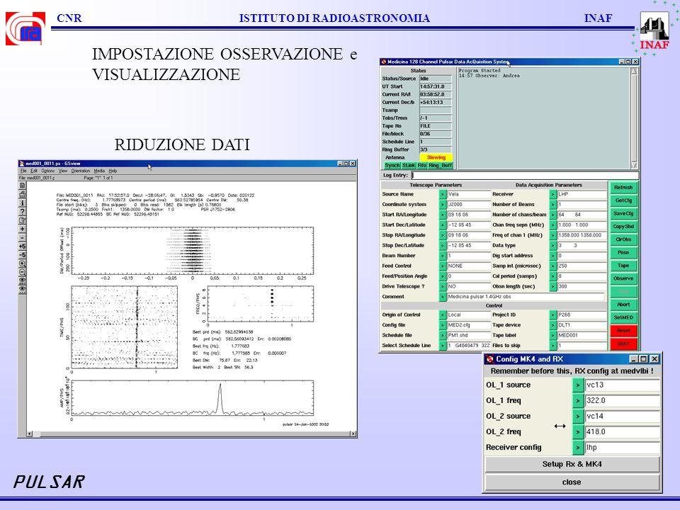CNR ISTITUTO DI RADIOASTRONOMIA INAF PULSAR RIDUZIONE DATI IMPOSTAZIONE OSSERVAZIONE e VISUALIZZAZIONE