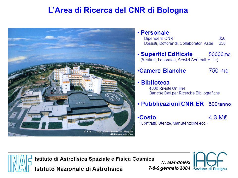 Istituto di Astrofisica Spaziale e Fisica Cosmica Istituto Nazionale di Astrofisica N. Mandolesi 7-8-9 gennaio 2004 LArea di Ricerca del CNR di Bologn