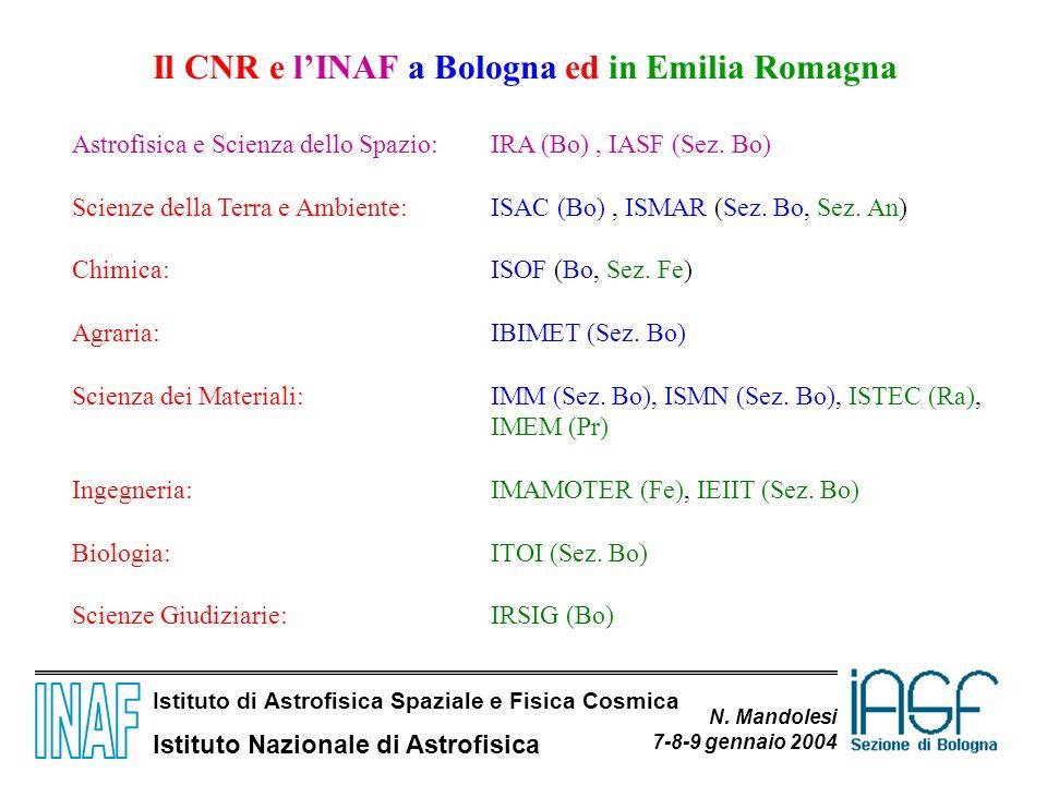 Istituto di Astrofisica Spaziale e Fisica Cosmica Istituto Nazionale di Astrofisica N. Mandolesi 7-8-9 gennaio 2004 Il CNR e lINAF a Bologna ed in Emi