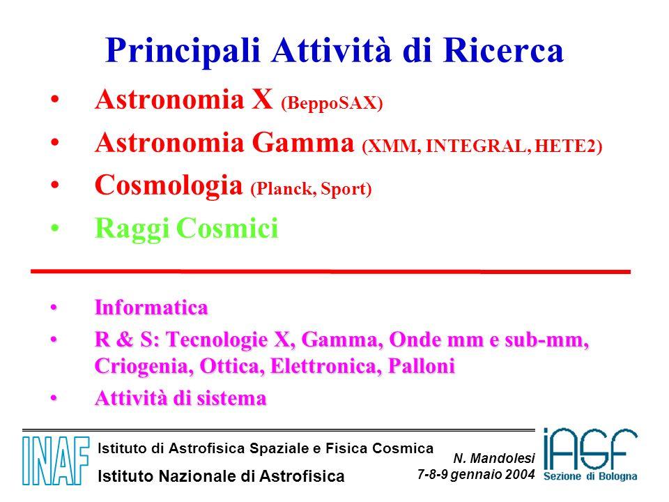 Istituto di Astrofisica Spaziale e Fisica Cosmica Istituto Nazionale di Astrofisica N. Mandolesi 7-8-9 gennaio 2004 Principali Attività di Ricerca Ast