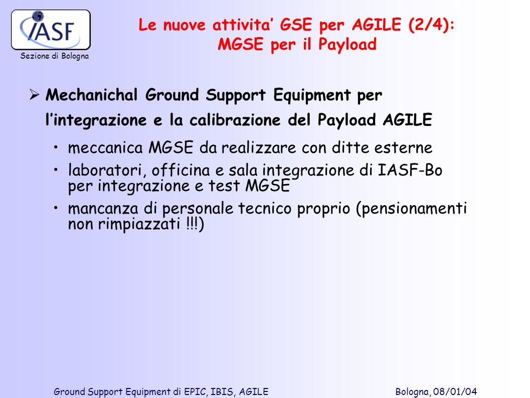 Sezione di Bologna Ground Support Equipment di EPIC, IBIS, AGILE Bologna, 08/01/04 Le nuove attivita GSE per AGILE (2/4): MGSE per il Payload Mechanic