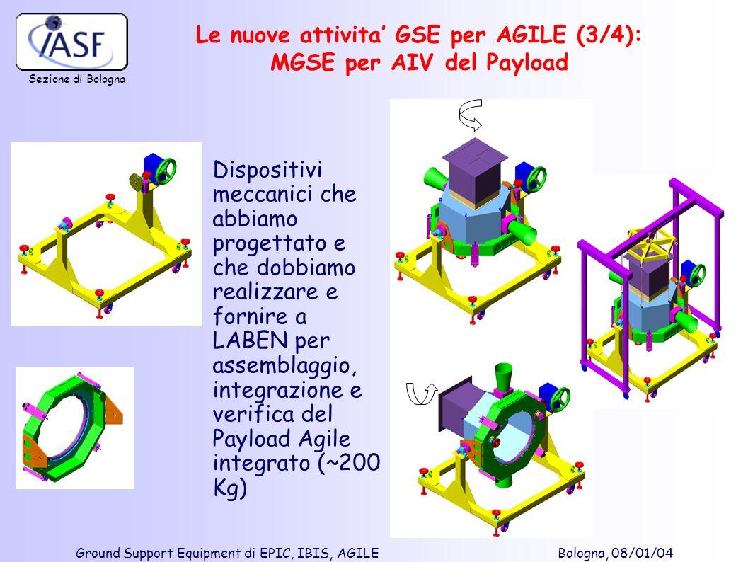 Sezione di Bologna Ground Support Equipment di EPIC, IBIS, AGILE Bologna, 08/01/04 Dispositivi meccanici che abbiamo progettato e che dobbiamo realizz