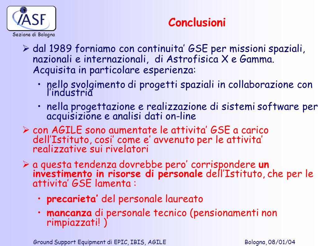 Sezione di Bologna Ground Support Equipment di EPIC, IBIS, AGILE Bologna, 08/01/04 Conclusioni dal 1989 forniamo con continuita GSE per missioni spazi