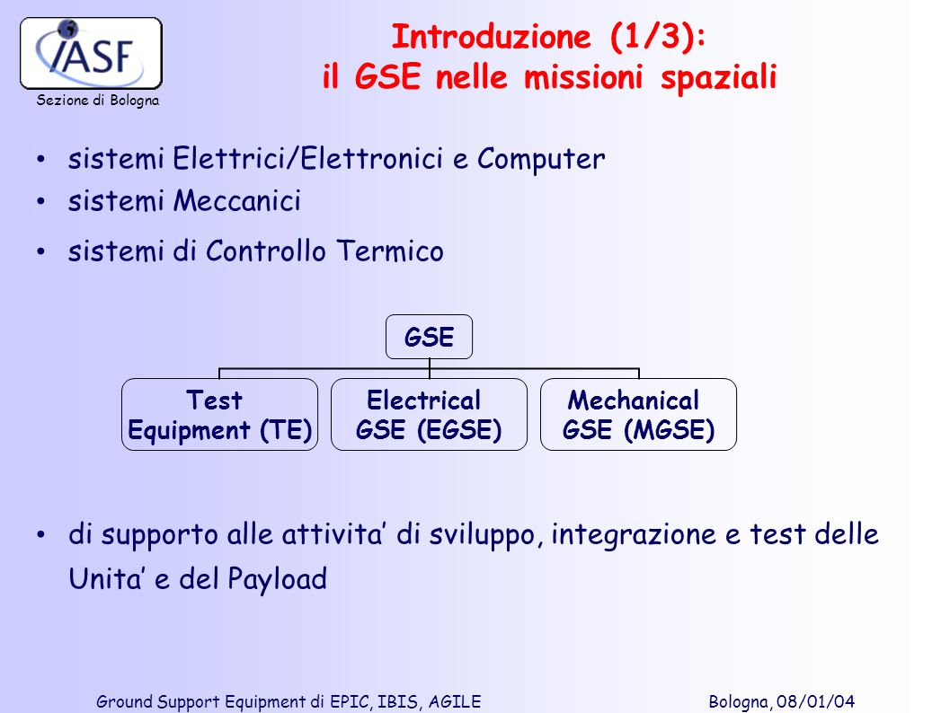 Sezione di Bologna Ground Support Equipment di EPIC, IBIS, AGILE Bologna, 08/01/04 GSE Test Equipment (TE) Electrical GSE (EGSE) Mechanical GSE (MGSE)