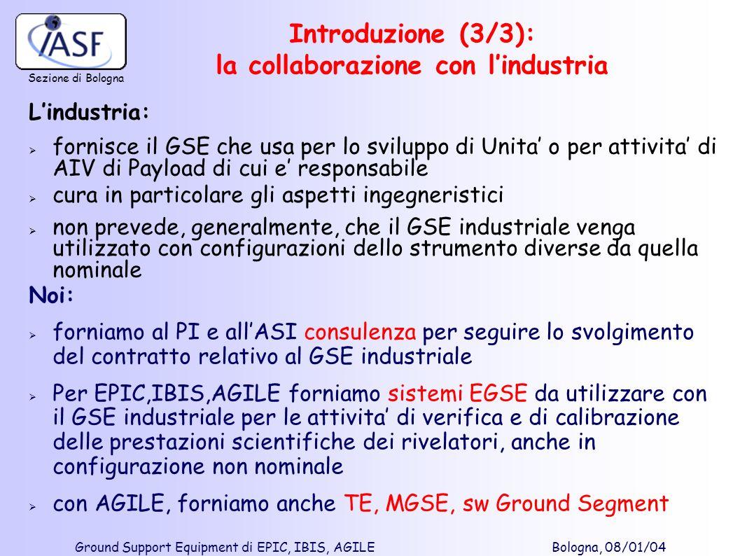 Sezione di Bologna Ground Support Equipment di EPIC, IBIS, AGILE Bologna, 08/01/04 Lindustria: fornisce il GSE che usa per lo sviluppo di Unita o per
