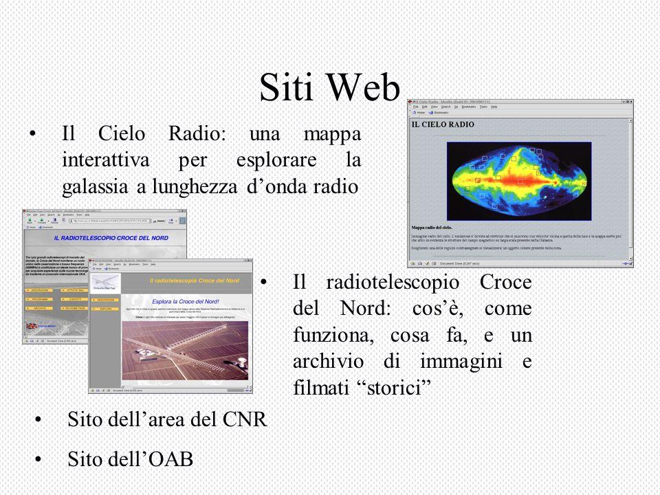 Il Cielo Radio: una mappa interattiva per esplorare la galassia a lunghezza donda radio Il radiotelescopio Croce del Nord: cosè, come funziona, cosa fa, e un archivio di immagini e filmati storici Siti Web Sito dellarea del CNR Sito dellOAB