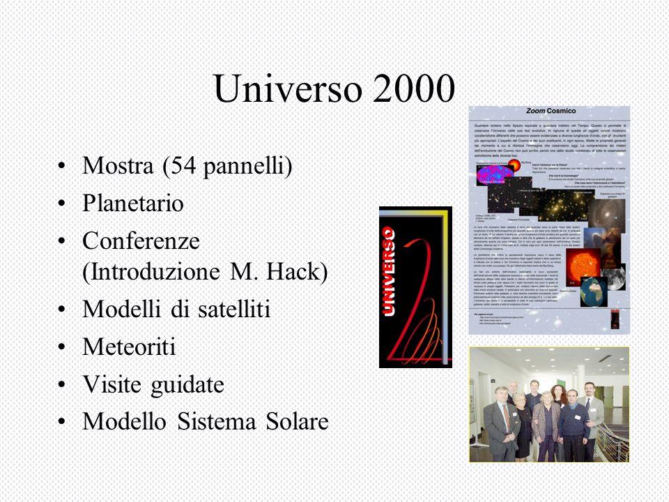 Universo 2000 Mostra (54 pannelli) Planetario Conferenze (Introduzione M.