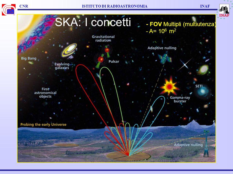 CNR ISTITUTO DI RADIOASTRONOMIA INAF Confronto del FOV dello stesso elemento di antenna a diverse lunghezze donda: SKA 73 cm SKA 21 cm SKA 6 cm ALMA