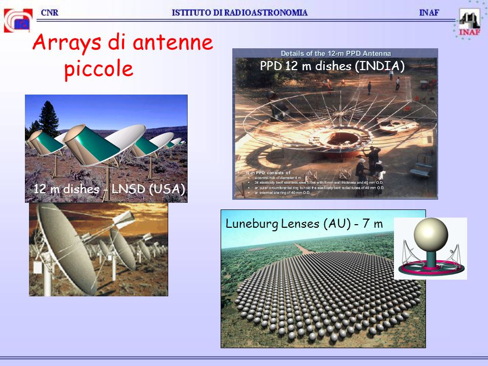Arrays di antenne piccole 12 m dishes - LNSD (USA) PPD 12 m dishes (INDIA) Luneburg Lenses (AU) - 7 m