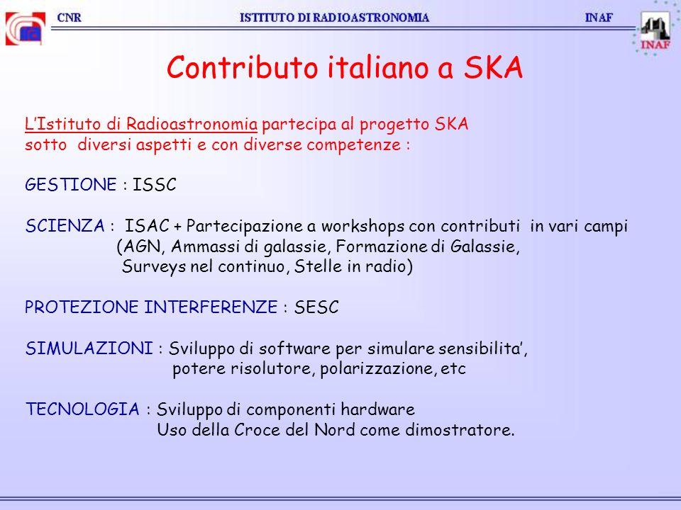 Contributo italiano a SKA LIstituto di Radioastronomia partecipa al progetto SKA sotto diversi aspetti e con diverse competenze : GESTIONE : ISSC SCIENZA : ISAC + Partecipazione a workshops con contributi in vari campi (AGN, Ammassi di galassie, Formazione di Galassie, Surveys nel continuo, Stelle in radio) PROTEZIONE INTERFERENZE : SESC SIMULAZIONI : Sviluppo di software per simulare sensibilita, potere risolutore, polarizzazione, etc TECNOLOGIA : Sviluppo di componenti hardware Uso della Croce del Nord come dimostratore.