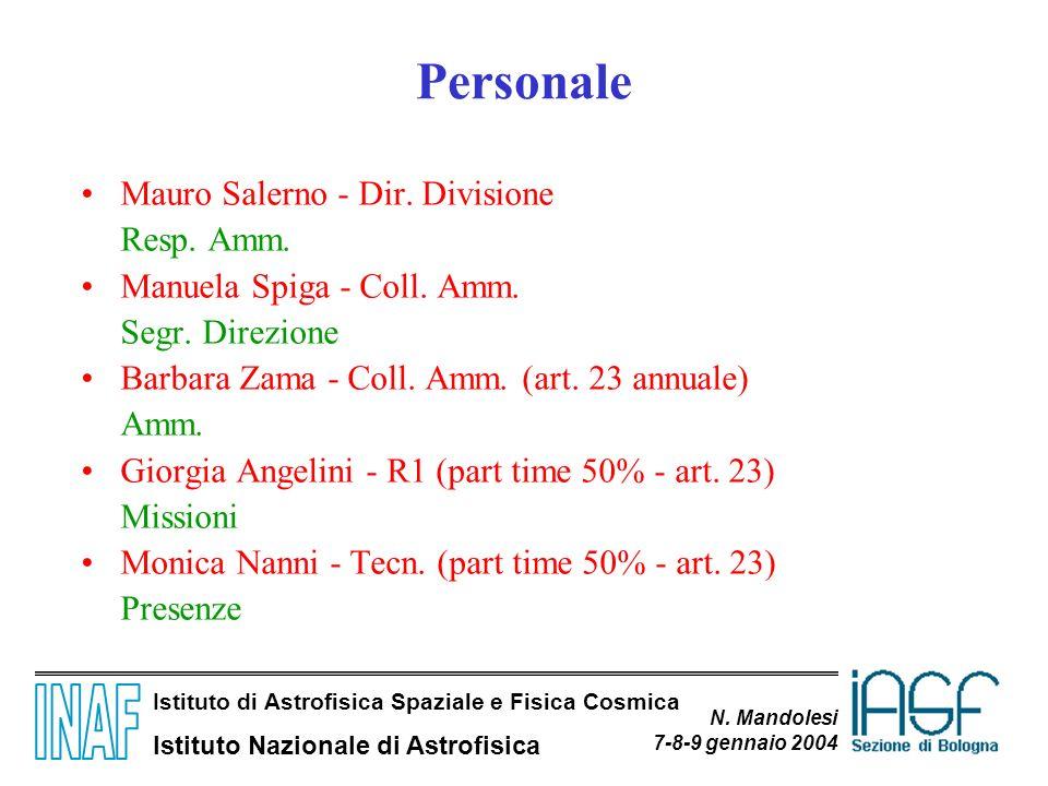 Istituto di Astrofisica Spaziale e Fisica Cosmica Istituto Nazionale di Astrofisica N. Mandolesi 7-8-9 gennaio 2004 Personale Mauro Salerno - Dir. Div