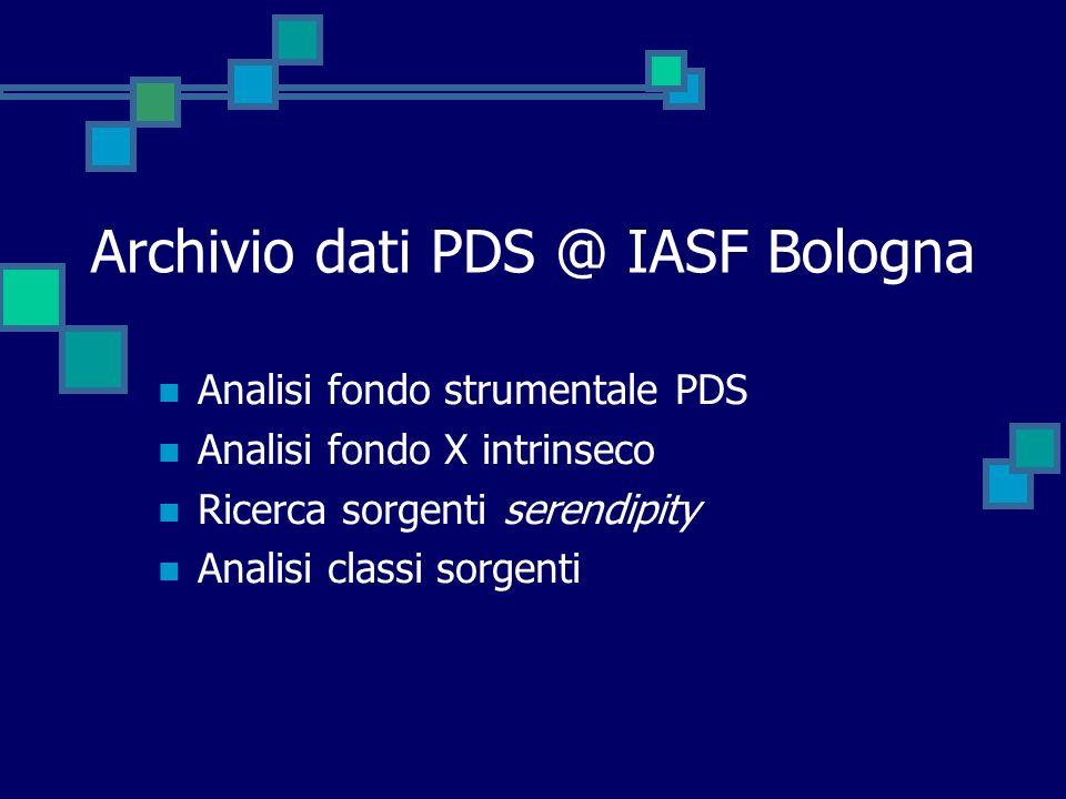 Archivio dati PDS @ IASF Bologna Analisi fondo strumentale PDS Analisi fondo X intrinseco Ricerca sorgenti serendipity Analisi classi sorgenti