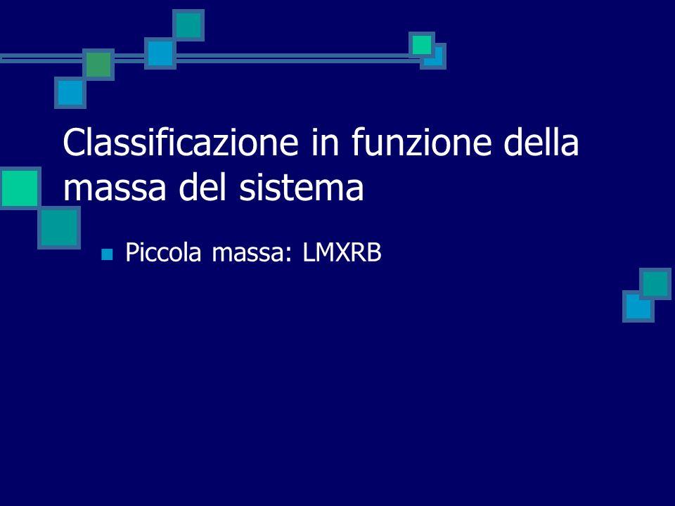 Classificazione in funzione della massa del sistema Piccola massa: LMXRB