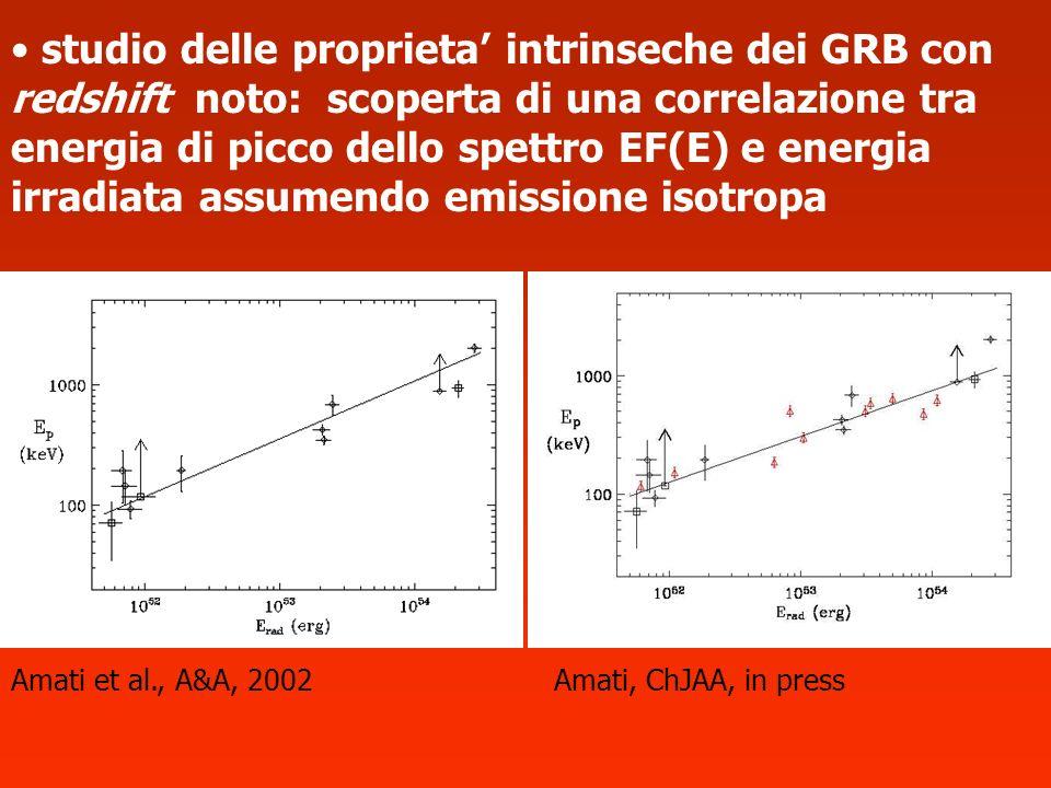 studio delle proprieta intrinseche dei GRB con redshift noto: scoperta di una correlazione tra energia di picco dello spettro EF(E) e energia irradiat
