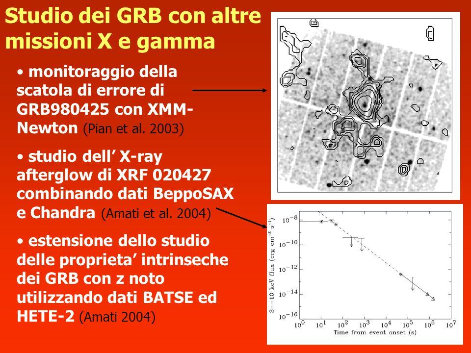 monitoraggio della scatola di errore di GRB980425 con XMM- Newton (Pian et al. 2003) studio dell X-ray afterglow di XRF 020427 combinando dati BeppoSA