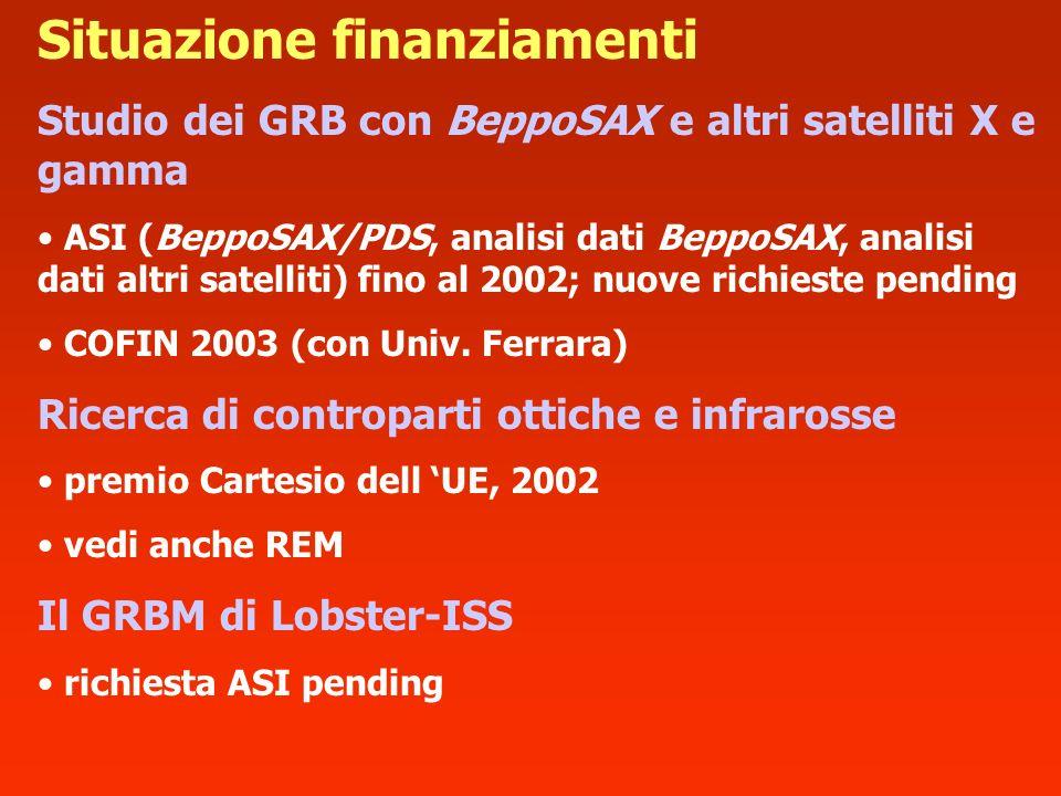 Studio dei GRB con BeppoSAX e altri satelliti X e gamma ASI (BeppoSAX/PDS, analisi dati BeppoSAX, analisi dati altri satelliti) fino al 2002; nuove ri