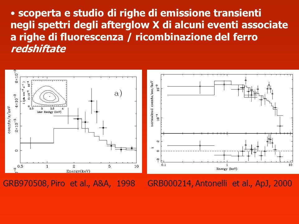 scoperta e studio di righe di emissione transienti negli spettri degli afterglow X di alcuni eventi associate a righe di fluorescenza / ricombinazione