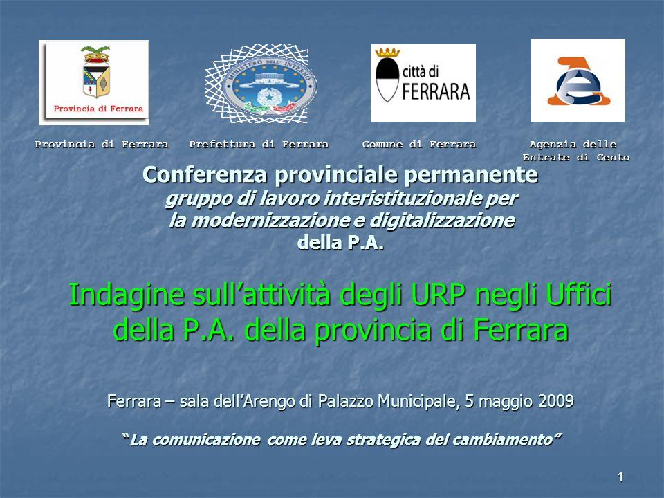 1 Conferenza provinciale permanente gruppo di lavoro interistituzionale per la modernizzazione e digitalizzazione della P.A. Indagine sullattività deg
