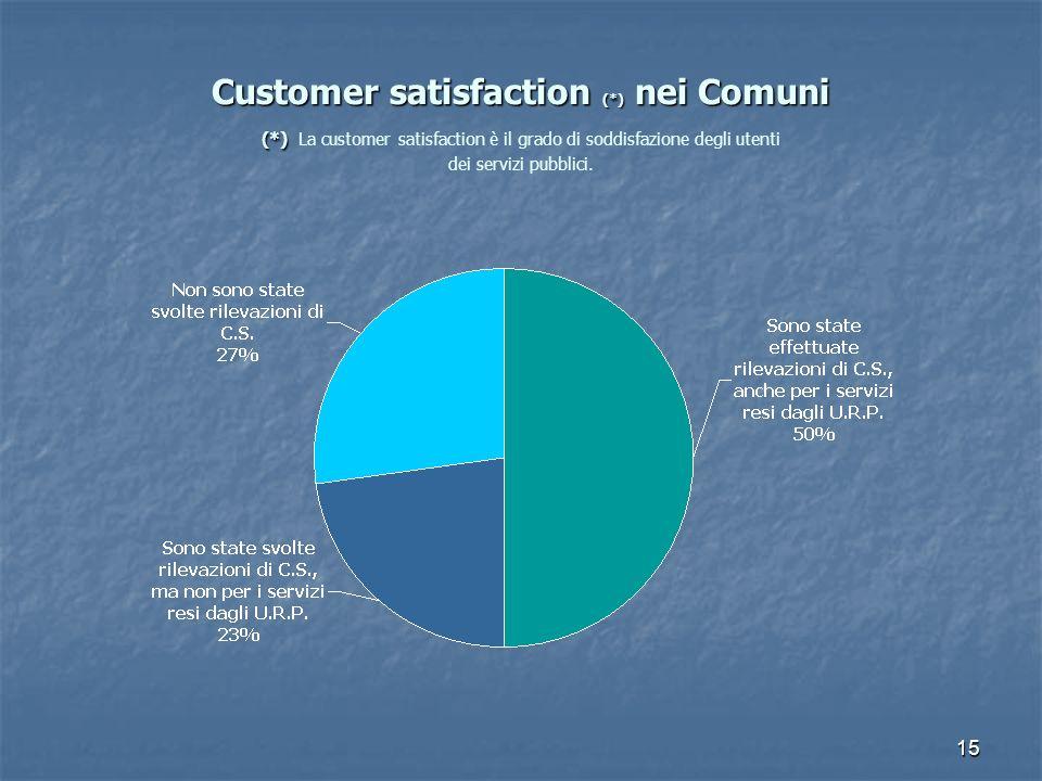 15 Customer satisfaction (*) nei Comuni (*) Customer satisfaction (*) nei Comuni (*) La customer satisfaction è il grado di soddisfazione degli utenti