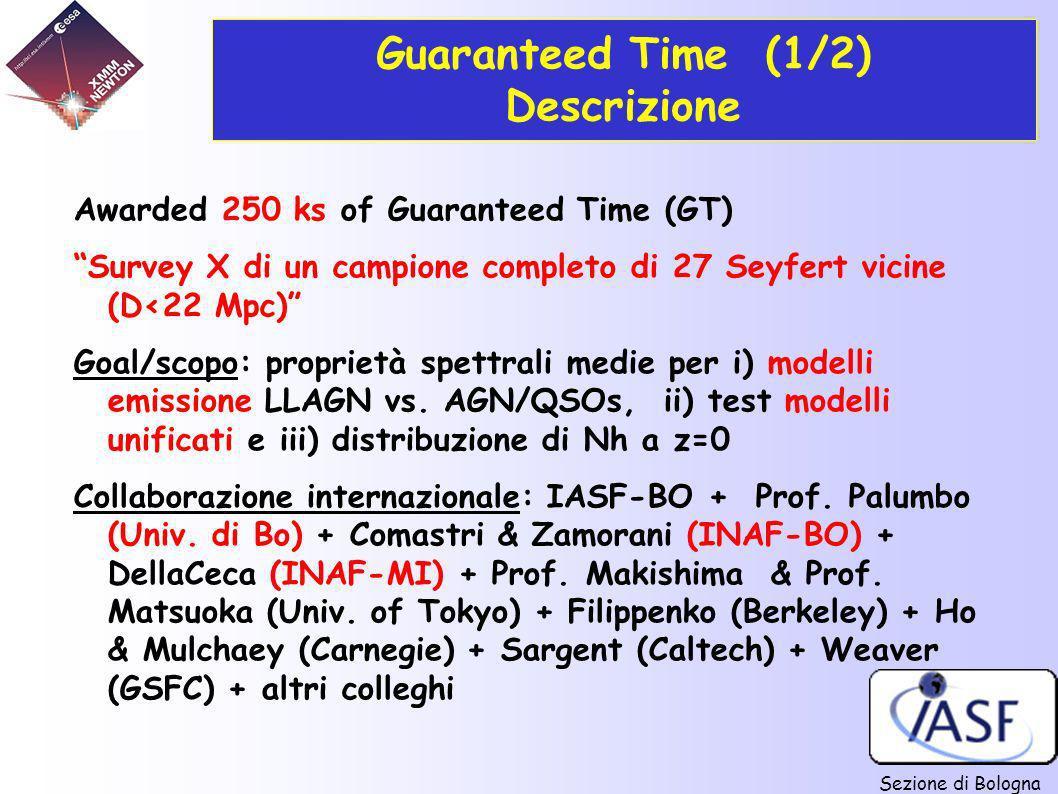 Sezione di Bologna Guaranteed Time (1/2) Descrizione Awarded 250 ks of Guaranteed Time (GT) Survey X di un campione completo di 27 Seyfert vicine (D<2