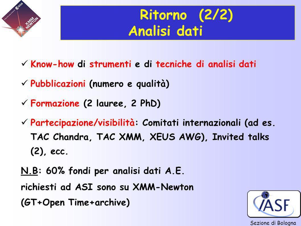 Sezione di Bologna Ritorno (2/2) Analisi dati Know-how di strumenti e di tecniche di analisi dati Pubblicazioni (numero e qualità) Formazione (2 laure