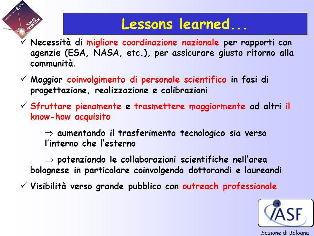 Sezione di Bologna Lessons learned... Necessità di migliore coordinazione nazionale per rapporti con agenzie (ESA, NASA, etc.), per assicurare giusto