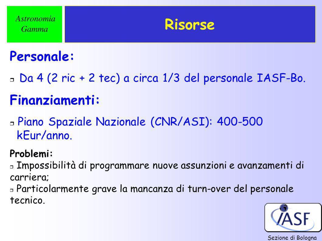 Sezione di Bologna Risorse Personale: r Da 4 (2 ric + 2 tec) a circa 1/3 del personale IASF-Bo. Finanziamenti: r Piano Spaziale Nazionale (CNR/ASI): 4