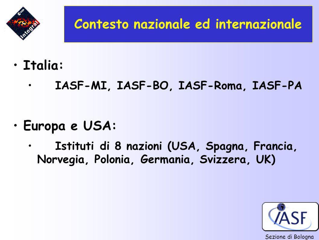 Sezione di Bologna Contesto nazionale ed internazionale Italia: IASF-MI, IASF-BO, IASF-Roma, IASF-PA Europa e USA: Istituti di 8 nazioni (USA, Spagna,