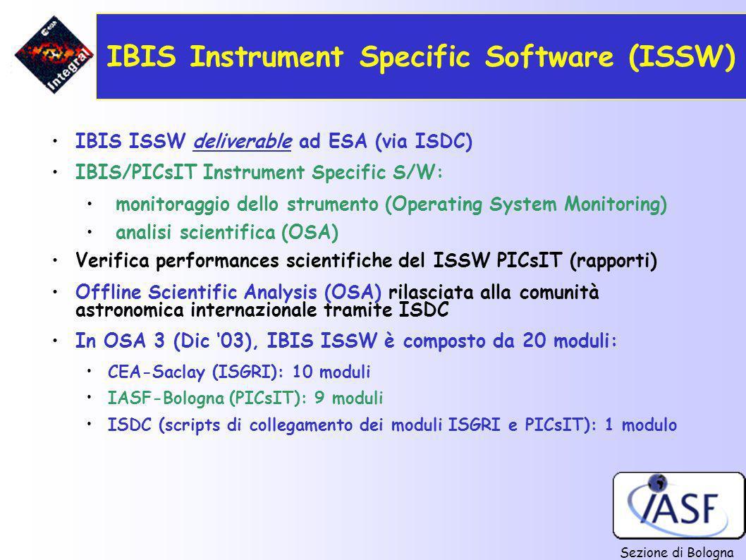 Sezione di Bologna IBIS Instrument Specific Software (ISSW) IBIS ISSW deliverable ad ESA (via ISDC) IBIS/PICsIT Instrument Specific S/W: monitoraggio