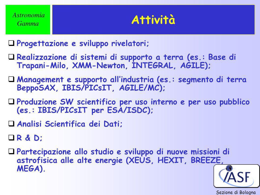 Sezione di Bologna Attività Progettazione e sviluppo rivelatori; Realizzazione di sistemi di supporto a terra (es.: Base di Trapani-Milo, XMM-Newton,